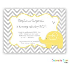 BABY SHOWER BOY yellow and grey chevron printable invitation. $9.50, via Etsy.