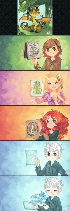 Hiccup, Rapunzel, Merida, and Jack's art - Disney/Dreamworks crossover Disney Pixar, Disney Fan Art, Disney E Dreamworks, Disney Tangled, Disney Memes, Disney Cartoons, Disney Animation, Disney Magic, Disney Characters