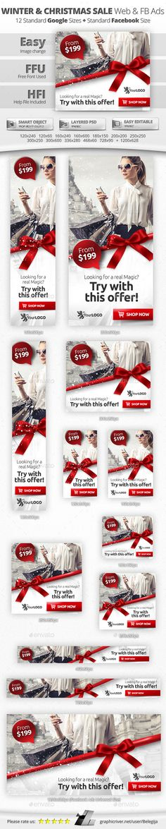 Winter & Christmas Sale Web & Facebook Banners / Ads Template PSD