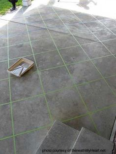 Back patio makeover using tape and concrete stain. Wish my patio looked like this. Tile Patio Floor, Patio Flooring, Garage Flooring, Stained Concrete, Concrete Floors, Concrete Patios, Cement Patio, Concrete Staining, Concrete Porch