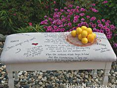 Chalk paint, drop cloth covered bench with Sharpie art @ bleak2unique.com