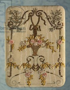 Night handbag, embroidered on moire', with silk little ribbons and copper paillettes floral motifs, Venice, 18th century,