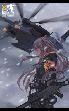 Anime, Military, Girl, Helicopter, Guns