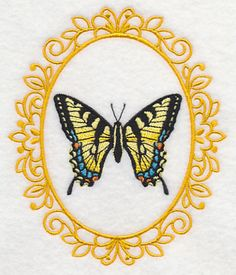 Butterfly Cameo - Tiger Swallowtail 3x3, 5x6 Machine Embroidery Designs at Embroidery Library! -