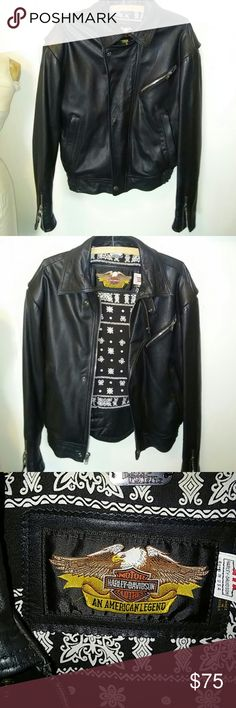 Motorcycle Jacket Genuine Harley M\C jacket, black bandana lining, Harley Wings toiled on back. Excellent condition, been hanging in my closet for over 20 years. Picture s don,t do justice. Men'ssnall, run's small. Heavy Harley-Davidson Jackets & Coats Utility Jackets