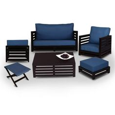 Arra Jinjer Contemporary Living Room Set Blue - Add oodles of style to your home with an exciting range of designer furniture, furnishings, decor items and kitchenware. We promise to deliver best quality products at best prices.