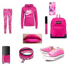 """PINK  October Is Breast Cancer Awareness Month!"" by gracedudich ❤ liked on Polyvore featuring JanSport, Converse, NIKE, NARS Cosmetics, Casetify and Versus"