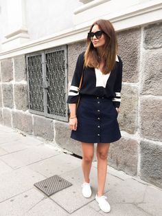 Nautical preppy, navy skirt, white sneakers