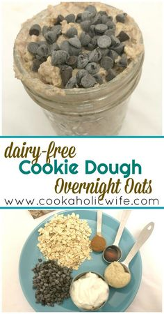 Dairy-Free Cookie Dough Overnight Oats - make ahead breakfast. Cashew butter, chocolate chips, vanilla, cinnamon and dairy free yogurt dress up your standard overnight oats into a bowl of flavor