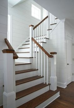 Awesome Modern Farmhouse Staircase Decor Ideas – Decorating Ideas - Home Decor Ideas and Tips Staircase Remodel, Staircase Railings, Wood Stairs, Staircase Design, Stairways, Staircase Ideas, Bannister, Stair Design, Spiral Staircases