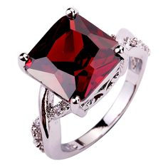 Alluring New Charming Women Rings Jewelry Red Garnet 925 Silver Ring For Party Size 6 7 8 9 10 Wholesale Free Shipping