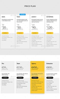 Buy Price Plan by Doony on GraphicRiver. Psd file is fully layered and can easily be edited Shapes are vector, easy to resize Colors and shapes can be changed. Web Design Services, Web Design Trends, Web Design Tutorials, Web Design Company, Web Design Inspiration, Design Websites, Simple Website Design, Website Design Layout, Layout Design