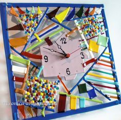 fused glass clock | Art Glass Wall Clock CHAOS fusing