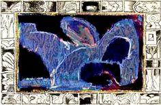 Pierre Alechinsky -Bleu de Chauffe (1994-1995) Acrylique et encre sur papier marouflé sur toile