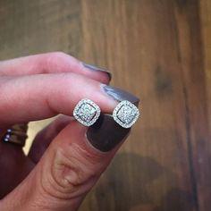 The perfect pair of diamond studs, 58 small diamonds weighing in at carats. … The perfect pair of diamond studs, 58 small diamonds weighing in at carats. Small Diamond Rings, Diamond Studs, Diamond Jewelry, Gold Jewelry, Fine Jewelry, Gold Bracelets, Diamond Stud Earrings, Black Diamond, Stackable Bracelets