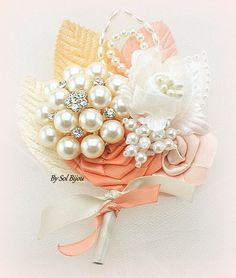 Brooch Boutonniere Peach Boutonniere Coral Ivory Bout by SolBijou