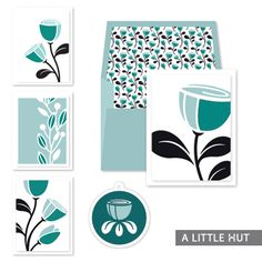 A Little Hut SVG files: Whimsy flowers card set