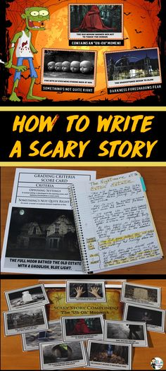 Scary Story Writing 101 The truth is: Every story that contains a compelling conflict contains elements of a scary story. Writing Lessons, Teaching Writing, Writing Activities, Teaching Ideas, Music Activities, Writing Resources, Writing Services, Teaching English, Spooky Stories
