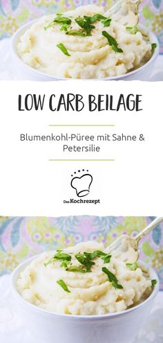 Low Carb Beilage - Blumenkohl-Püree mit Sahne und Petersilie Simple and quick: our delicious low-carb side dish recipe with cauliflower. The puree with cream, vegetable broth and parsley melts o Fodmap Recipes, Paleo Recipes, Mexican Food Recipes, Quick Recipes, Cauliflower Puree, Cauliflower Recipes, Low Carb Side Dishes, Side Dish Recipes, Evening Meals