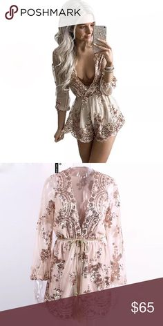 Nude/Gold Plunging V-neck Sequin Romper This Romper is new with tags. It's perfect for special events like birthdays or even the club. Does come with an optional gold belt as shown in second picture. Armpit to armpit: 18 in / Length: 31 in. Pants Jumpsuits & Rompers