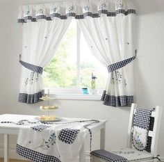 Best kitchen curtains fantastic curtain for kitchen decorating with best kitchen curtain designs ideas on home Modern Kitchen Curtains, Kitchen Curtains And Valances, Small Window Curtains, Home Curtains, Kitchen Windows, Gingham Curtains, Valance Curtains, Turquoise Curtains, Country Valances