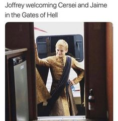 Joffrey welcoming Cersei and Jaime in the Gates of Hell.😈😂 gameofthrones gameofthronesarmenia գահերիխաղը gaherixaghe джеймиланнистер играпрестолов got hbo joffreybaratheon cerseilannister jaimelannister lannisters baratheon Game Of Throne Lustig, Cersei And Jaime, Game Of Thrones Meme, Game Of Thones, Got Memes, Funny Memes, Hilarious, Valar Morghulis, Valar Dohaeris