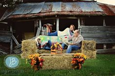 """""""The Poole Family"""" I wanted to try something new and different with this shoot. So I constructed this couch and matching coffee table from hay bales. © Jason Bishop Photography *Please do not remove or edit copyright on picture. You can share but copyright must remain visible at all times* """"Capturing LIFE Creating ART"""" www.jasonbishopphotography.com"""