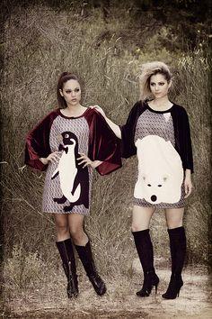 """Baya : Φόρεμα μα βελούδινα μανίκια και χειροποίητο απλικέ σχέδιο """"penguin"""".  Feny : Φόρεμα μα βελούδινα μανίκια και χειροποίητο απλικέ σχέδιο """"polar bear""""."""