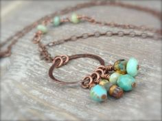 Desert Skies Necklace with Aqua Green Czech Beads by Kitschish, $25.00