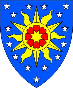 Azure mulletty argent, on a sun Or, eight hearts conjoined in annulo points to center gules.