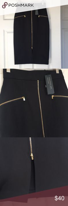 Banana Republic Skirt NWT Black banana Republic Sloan pencil skirt.  Gold zippers in the front.  On pocket sides and middle.  Never worn and in excellent condition.  Original price $98  Size 0 Waist size to side 13inch Waist to hem 25.5 inch  Middle slit 7 inch  Waist to front slit zipper end 19inch Banana Republic Skirts Pencil