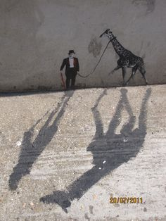 """So cool. / Shoreditch street art, London / <3 The """"shadow"""" is part of the artwork https://www.facebook.com/pages/Art-of-street/144938735644793?fref=ts"""