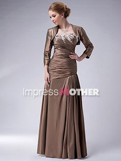 Mother of Bride dress idea, Brown Long A-Line Taffeta Pleated Strapless Mother of Bride Dress - US$ 139.99 - Style M0373 - Impress Mother