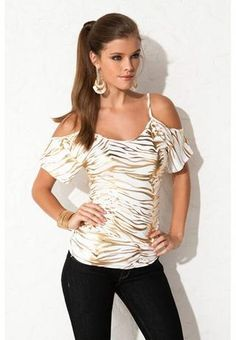 I found 'EXPOSED SHOULDER ZEBRA STRIPE TOP' on Wish, check it out!
