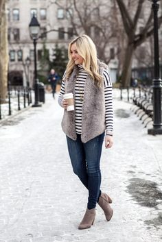 How to wear: grey fur vest, white and black horizontal striped turtleneck, navy Winter Mode Outfits, Winter Fashion Outfits, Autumn Winter Fashion, Fall Outfits, Weekend Fashion, Turtleneck Outfit, Striped Turtleneck, Western Outfits, Fur Vest Outfits