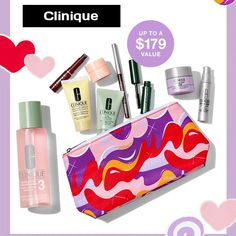 With any $45 purchase at Clinique.com receive a free 7-piece gift. Add more gifts when you spend $65 or $85. Clinique Gift, Dillards, Cosmetic Bag, Free Gifts, Moisturizer, Lipstick, Cosmetics, Beauty, Moisturiser