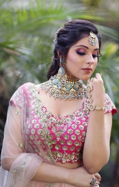 A glimpse into the world of beautiful and gorgeous blouse designs for bridal wearing. A glimpse into the world of beautiful and gorgeous blouse designs for bridal wearing. Beautiful Girl Indian, Most Beautiful Indian Actress, Beauty Full Girl, Beauty Women, Pink Bridal Lehenga, Pink Lehenga, Indian Bridal Fashion, Bridal Blouse Designs, Stylish Girl Images