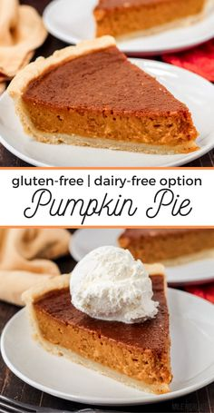 This simple, homemade Pumpkin Pie recipe has a flaky, gluten-free crust made from scratch, with the help of a food processor. With an easy pumpkin pie filling, with no sweetened condensed milk and an option to sweeten it naturally with maple syrup too. Can also be made dairy-free. Best Gluten Free Recipes, Gluten Free Sweets, Gluten Free Baking, Easy Pumpkin Pie, Pumpkin Pie Recipes, Dairy Free Pumpkin Pie, Homemade Desserts, Homemade Cakes, Dessert Recipes
