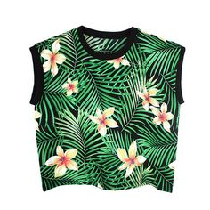 Tank top - Tropical ($42) ❤ liked on Polyvore featuring tops, shirts, crop tops, tank tops, crop top, green tank top, green shirt, crop tank and crop tank top