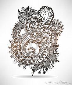Line art ornate flower design, ukrainian ethnic