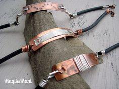 Bracciali formen - lamina di rame, filo di rame, filo argentato, caucciù,