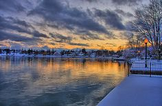 Sunset on Skaneateles Lake after the snow and before the Lake Effect clouds roll in