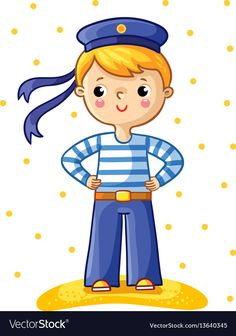 Buy Young Sailor Cartoon Character by svaga on GraphicRiver. Young sailor cartoon character on white background with yellow points. Free Vector Art, Free Vector Images, Attractive Background, Cartoon Images, Drawing For Kids, Cartoon Characters, Illustration, Pictures, Male Man