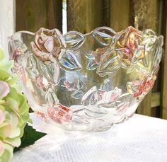 Rose Bowl, Cottage Chic, Shabby Chic Decor, Green Leaves, Punch Bowls, Pink Flowers, Vintage Antiques, Serving Bowls, My Etsy Shop