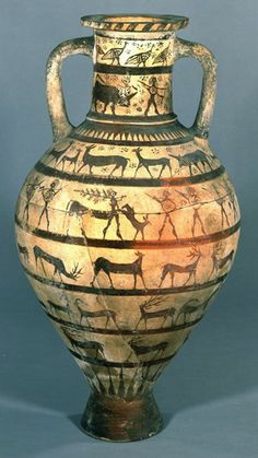 Etruscan Pottery amphora decorated with cavalrymen, warriors, chimaera and animals. Courtesy of the trustees of the British museum