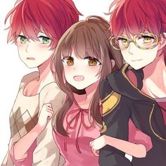 Saeran (Unknown), MC, and Saeyoung (Luciel/Seven/707/Defender of Justice)