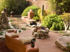 Patio with fire pit and water feature