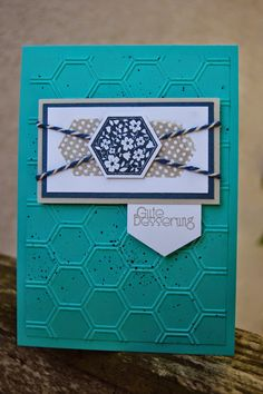 Stampin' Up! ... handmade card from Bastelabend bei Petra ... hexagons and honeycomb embossing folder ... luv the focal point wrap of bakers twine ...