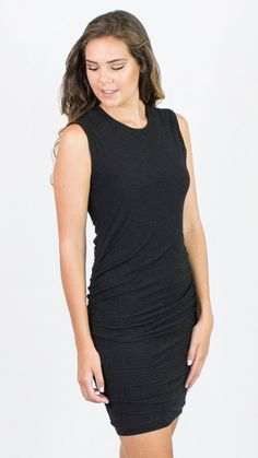 Brand James Perse Style Cotton-Jersey Dress Material Cotton Blend Color Black Description High neckline. Round neckline. Sleeveless. Form fitting. Gathers on both sides of the hips. 51% cotton, 49% mo