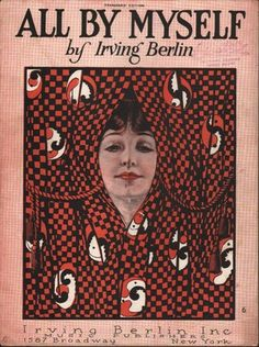 1921 Irving Berlin Sheet Music All by Myself Art Deco Design Pretty Woman | eBay